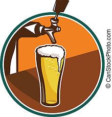 vidrio, golpecito de cerveza, retro, pinta