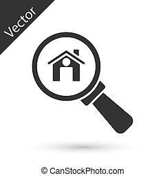 vidrio., icono, símbolo, aumentar, verdadero, vector, casa, gris, propiedad, debajo, blanco, búsqueda, fondo., aislado