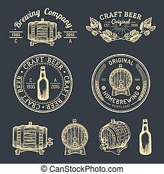vidrio, labels., vector, sketched, etcétera, cervezadorada, señales, viejo, cerveza, logotipos, mano, cervecería, barril, kraft, set., retro, botella, cerveza inglesa