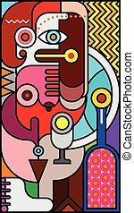 Vidrio manchado con retrato abstracto de una mujer