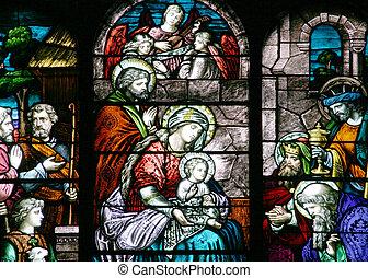 Vidrio manchado, escena de Navidad