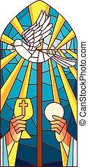 vidrio, masa, manchado, santo