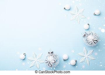 vidrio, o, blanco, nuevo, ornamentos de navidad, año, decorativo