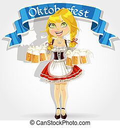 vidrio, oktoberfest, disfraz, bastante, tradicional, niña, celebrar, cerveza