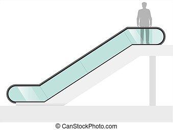 vidrio, transparente, escalera mecánica