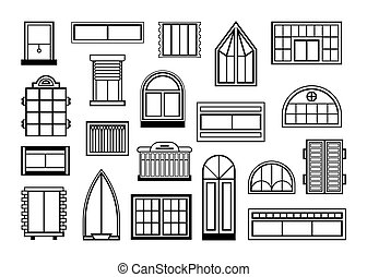 vidrio, windows, conjunto, puertas
