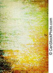 Vieja lona: fondo texturizado con verde, naranja y patrones marrones en el telón amarillo