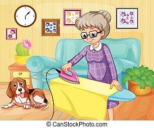 Vieja mujer planchando ropa en una habitación