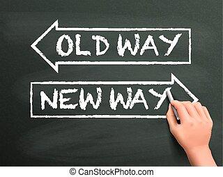 Vieja o nueva forma escrita a mano