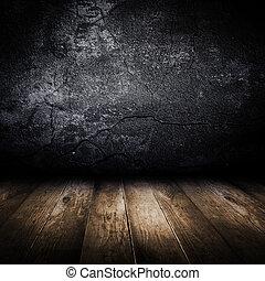 Vieja pared de hormigón y piso de madera. Diseño de plantilla.