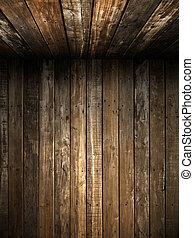 Vieja pared de madera Grunge y techo
