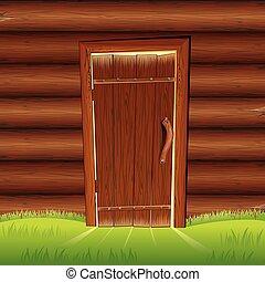 Vieja puerta en la pared de madera. La fachada de la casa de registro