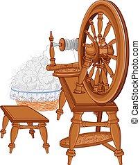 Vieja rueda giratoria y silla