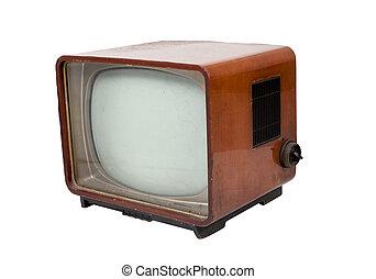 Vieja televisión de madera