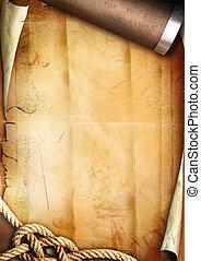 Vieja textura de papel con una cuerda