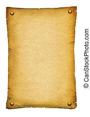 Vieja textura de papel. Pergamino de fondo anticoa para texto sobre blanco