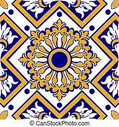 Viejas azulejos florales