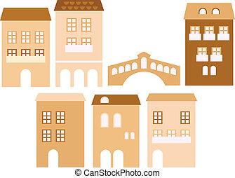 Viejas casas de la ciudad europea aisladas en blanco.