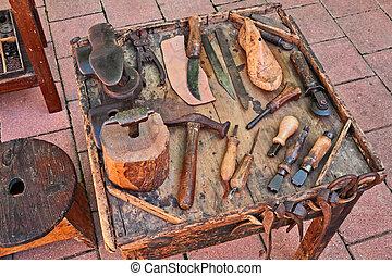 Viejas herramientas del zapatero