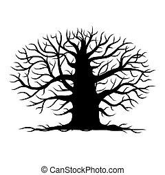 Viejo árbol desnudo, silueta para tu diseño