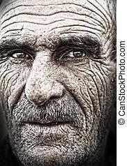 viejo, anciano, cara, piel, primer plano, arrugado, retrato, hombre