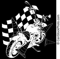 viejo, bandera de la raza, bicicleta, bobber, vendimia, negro