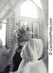 viejo, boda, conseguir, aduana, equipos, histórico, tradicional, casado, vendimia, reconstrucción, church., gente, cossack, eslavo, costumes., joven, estilizado, vestido, ukraine.