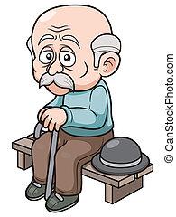 viejo, caricatura, hombre
