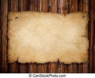 viejo, de madera, clavos, rasgado, fijado, pared, papel, grunge