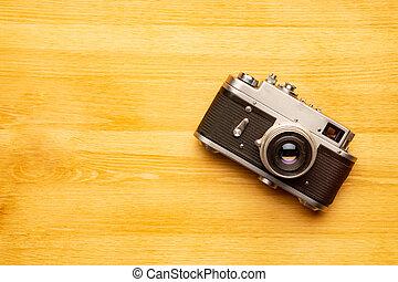 viejo, de madera, retro, vendimia, plano de fondo, cámara