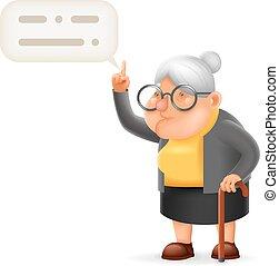 viejo, dirección, carácter, ilustración, profesor, vector, diseño, abuelita, sabio, dama, caricatura, 3d