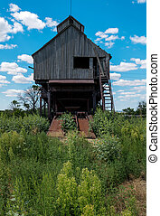 viejo, elevador, rusia, región, grano, abandonado, rostov