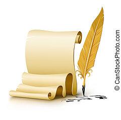 viejo, escritura, blanco, pluma, papel, tinta, pluma