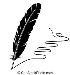 viejo, escritura, vector, monocromo, pluma, prospere
