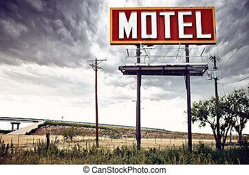viejo, estados unidos de américa, muestra del motel, 66, ruta