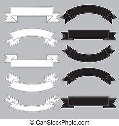 Viejo estandarte de cintas, blanco y negro.