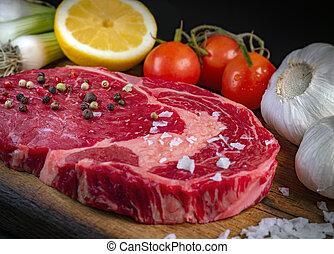 viejo, filete, crudo, entrecote, seco, carne de vaca, wagyu
