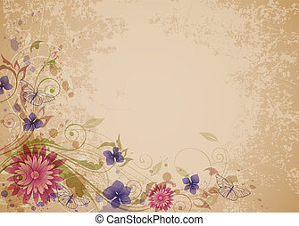 Viejo fondo floral