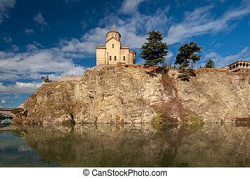 viejo, georgia, hermoso, iglesia, metekhi, pueblo, tbilisi, vista