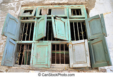viejo, grupo, ruinoso, casa, roto, ocho, windows