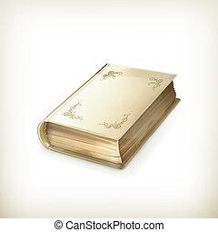 Viejo libro, icono del vector