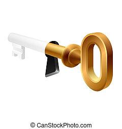 viejo, ojo de la cerradura, llave