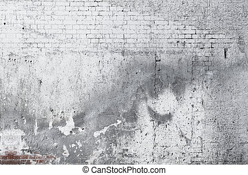 viejo, pared, concreto, plano de fondo, agrietado, ladrillo