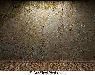 viejo, pared, concreto