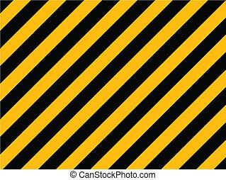 viejo, pintado, -, rayas, amarillo, diagonal, pared, vector, negro, peligro, ladrillo
