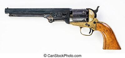 viejo, pistol., vaquero