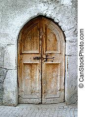 viejo, poco, puerta
