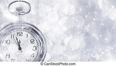 viejo, reloj, -, medianoche, año, luces, nuevo, feriado