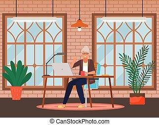 viejo, se sienta, persona, trabaja, oficina, computadora, mujer de negocios, home., tabla, tecnología