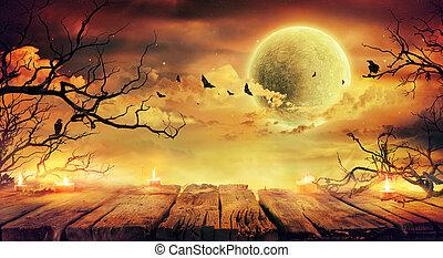 viejo, tabla, lleno, ramas, naranja, -, luna, noche de halloween, asustadizo, velas